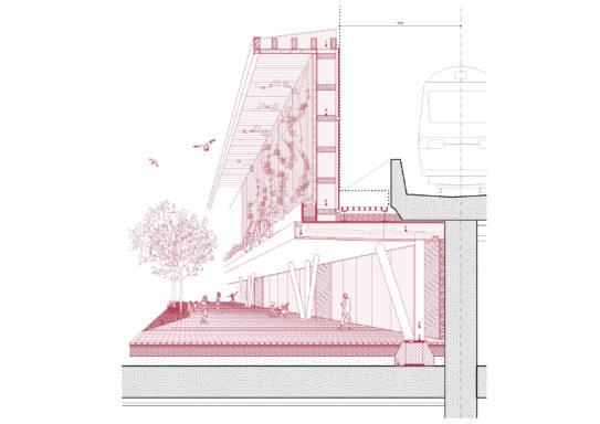 Détail de la nouvelle façade de la gare de Cornavin