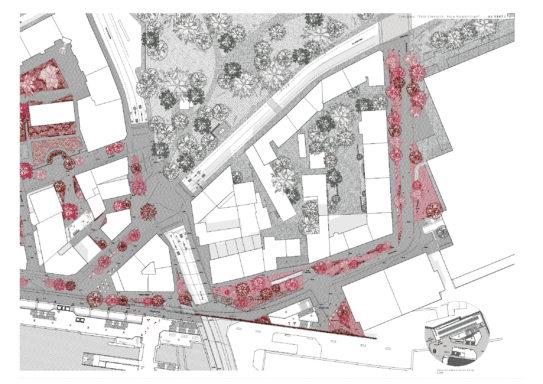 Plan des aménagements au nord de la gare de Cornavin - carrefour des Alpes
