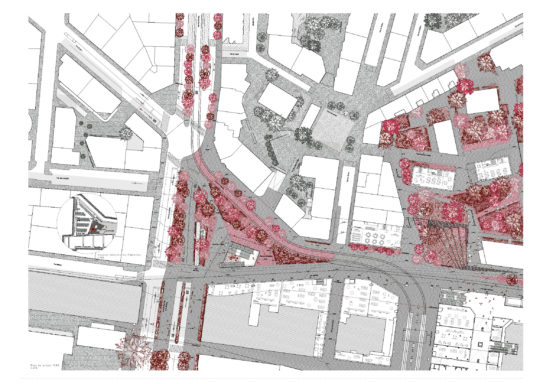 Plan des aménagements au nord de la gare de Cornavin - place de Montbrillant