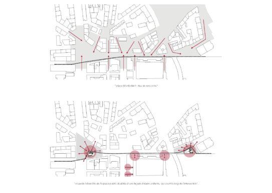 Schéma des espaces publics au nord de la gare de Cornavin