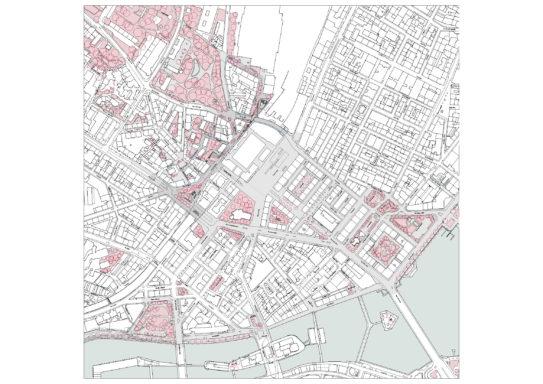 Plan masse du concours des aménagements au nord de la gare de Cornavin