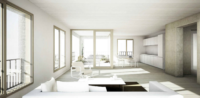 Vue intérieure d'un appartement © consortium Archiplein-Perraudin